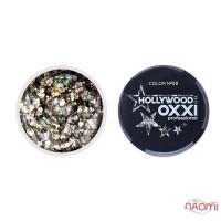 Глиттерный гель в баночке OXXI Hollywood 08 серебристо-золотистый голографический микс, 5 г