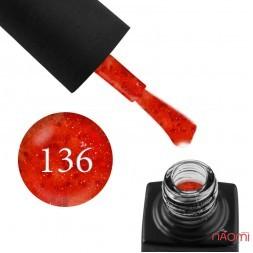 Гель-лак GO 136 терракотово-коралловый, с блестками и конфетти, 5,8 мл