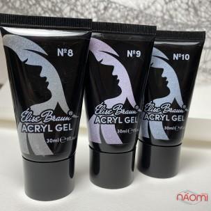 Акрил-гель Elise Braun Acryl Gel 10, белоснежный с шиммерами, 30 мл