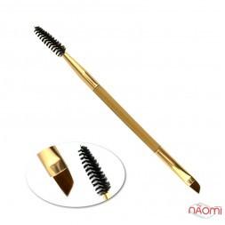Пензель для брів, двосторонній, дерев'яна ручка, 15 см