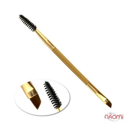 Кисть для бровей, двусторонняя,  деревянная ручка,15 см, фото 1, 49.00 грн.