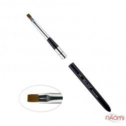Кисть для геля MILEO 6, прямая, искусственный ворс, с черной ручкой