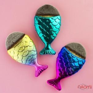 Пензель для макіяжу, рибка, синтетичний ворс, колір бірюза