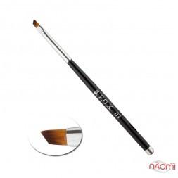 Кисть для геля F.O.X 03, скошенная, искусственный ворс, с черной ручкой
