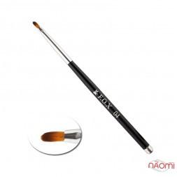 Кисть для геля F.O.X 04, овальная, искусственный ворс, с черной ручкой