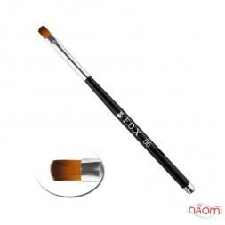 Пензель для гелю F.O.X 06, овальний, штучний ворс, з чорною ручкою