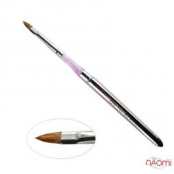 Кисть-трансформер для акрила YRE Nail Art Brush № 4, моделирующая, искусственный ворс, серебристая