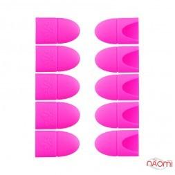 Ковпачки силіконові для зняття гель-лаку, для манікюру 10 шт./уп., колір яскраво-рожевий