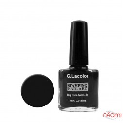Лак для стемпинга G. Lacolor 001 чёрный, 10 мл