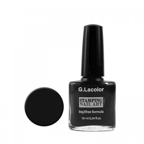 Лак для стемпинга G. Lacolor 001 чёрный, 10 мл, фото 1, 55.00 грн.