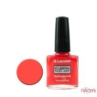 Лак для стемпинга G. Lacolor 005 кораллово-красный, 10 мл