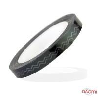 Лента-скотч для ногтей, зигзаги, цвет черный 5 мм