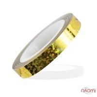 Лента-скотч для ногтей, зигзаги, цвет золото с голограммой, 5 мм