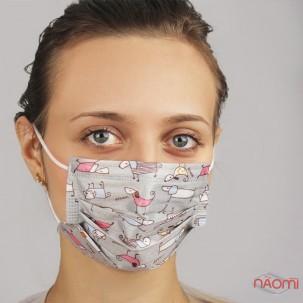 Маска на лицо Fashion Mask Dream собачки, 5 шт., цвет серый