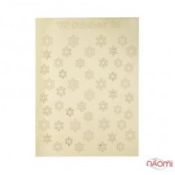 Металізовані наклейки № 61 сніжинки, колір золото