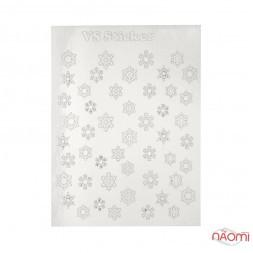 Металізовані наклейки № 62 сніжинки, колір срібло