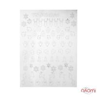 Металлизированные наклейки № 64 снежинки, олени, варежки, цвет серебро