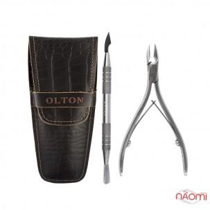 Набір інструментів Olton, ножиці для кутикули М, топірець-лопатка, чохол