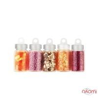 Набор декора для ногтей Цветочная поляна, блестки, бульонки, чешуя, стружка, камифубики, 5 шт.