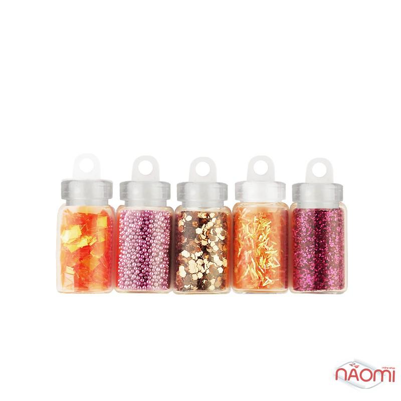 Набор декора для ногтей Цветочная поляна, блестки, бульонки, чешуя, стружка, камифубики, 5 шт., фото 1, 42.00 грн.