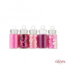 Набор декора для ногтей Стиль Barbie, блестки, бульонки, чешуя, стружка, камифубуки, 5 шт.