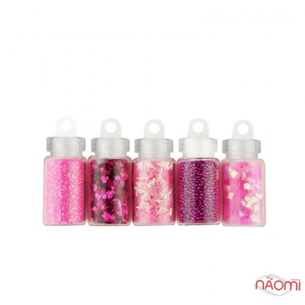 Набор декора для ногтей Стиль Barbie, блестки, бульонки, чешуя, стружка, камифубуки, 5 шт., фото 1, 42.00 грн.