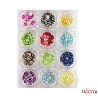 Набор декора для ногтей жемчуг разных размеров, цвет ассорти, 12 шт.
