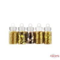 Набор декора для ногтей Золотая феерия, блестки, бульонки, чешуя, стружка, камифубуки, 5 шт.