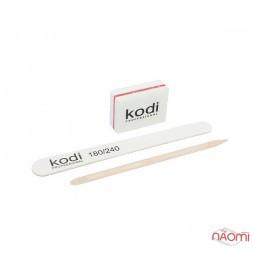 Набор для ногтей одноразовый Kodi Professional пилка 180/240, баф, апельсиновая палочка