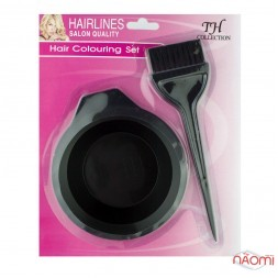 Набір для фарбування волосся, миска и пензлик, колір чорний