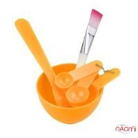 Набор для приготовления масок, краски, миска d=8,2 см, лопатки, кисть, шпатель, цвет в ассортименте