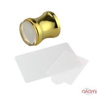 Набор для стемпинга, штамп, скрапер и пластина, цвет золото