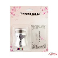 Набор для стемпинга Stamping Nail Art, штамп и скрапер, цвет серебро