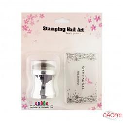 Набір для стемпінга Stamping Nail Art, штамп і скрапер, колір срібло