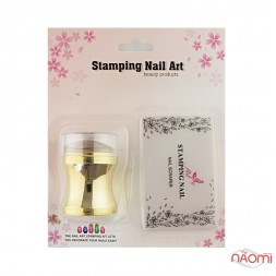 Набор для стемпинга Stamping Nail Art, штамп и скрапер, цвет золото
