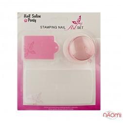 Набір для стемпінга Stamping Nail Art, штамп, скрапер і пластина, колір рожевий