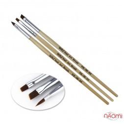 Набір пензлів для гелю YRE Nail Art Brush NK-06-04, 3 шт.