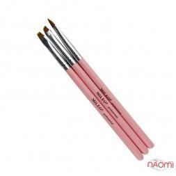 Набір пензлів для моделювання нігтів MILEO, колір рожевий, 3 шт.