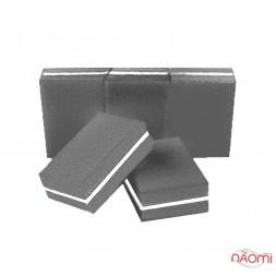 Набір міні-бафів для нігтів 100/180, в наборі 5 шт., колір сіро - чорний