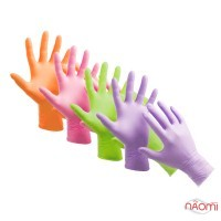Перчатки нитриловые упаковка - 5 пар, размер S (без пудры), цветные