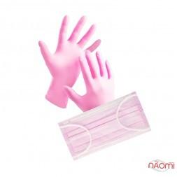 Набор перчаток 5 пар размер S и масок 5 шт., одноразовые, цвет розовый