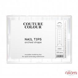 Верхние арочные формы для наращивания ногтей Couture Colour Nail Tips Arched Shape с разметкой, прозрачные, 120 шт.