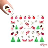 Наклейка для ногтей DTL-148 Снежинки, елочки, снеговики