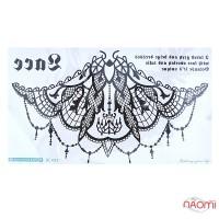 Наклейка для тимчасового тату BC-012 24х13,5 см, колір чорний