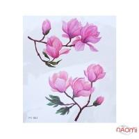 Наклейка для тимчасового тату FC-061 Квіти 12х10,5 см