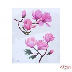 Наклейка для временного тату FC-061 Цветы 12х10,5 см