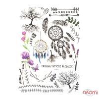 Наклейка для временного тату LC-874 Перья, цветы 15х21см