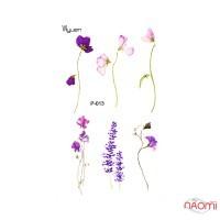 Наклейка для тимчасового тату Р-013 Квіти, 9,8х6 см