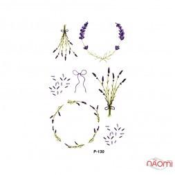 Наклейка для тимчасового тату Р-130 (9,8х6 см) Квіти, трава