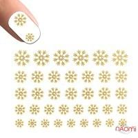 Наклейка на нігті №1, Сніжинки золоті